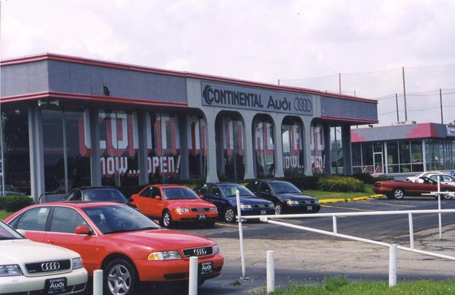 1998  Continental added Audi in a temporary facility at 2500 N. Farnsworth Avenue in Aurora, Illinois.