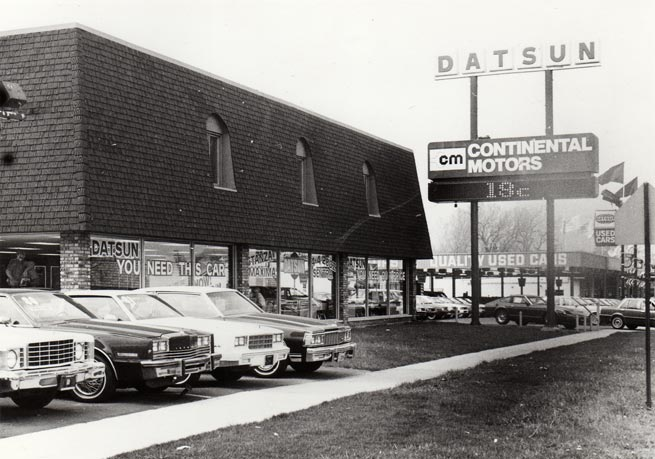 1981  Continental Motors was converted into a Nissan dealership by purchasing the assets of Mannheim Datsun at the 5750 S. LaGrange Road location. Fiat, Lancia, MG, Austin Healy, Triumph ceased doing business in the United States.
